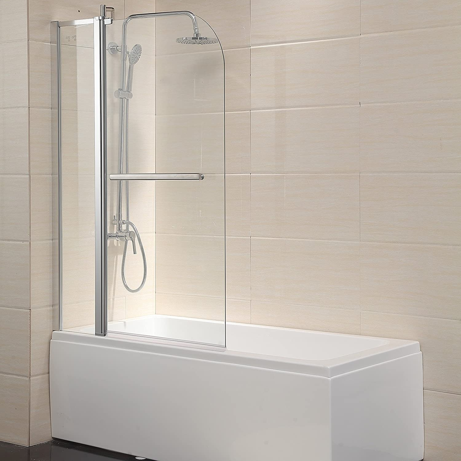 Mecor Shower Door Hinged Frameless 1/4 Clear Glass Bathtub Door ...