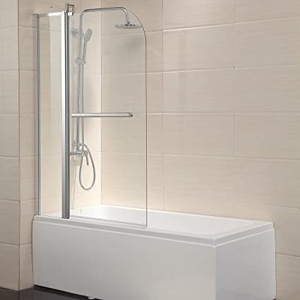 Mecor Shower Door Hinged Frameless 14 Clear Glass Bathtub Door