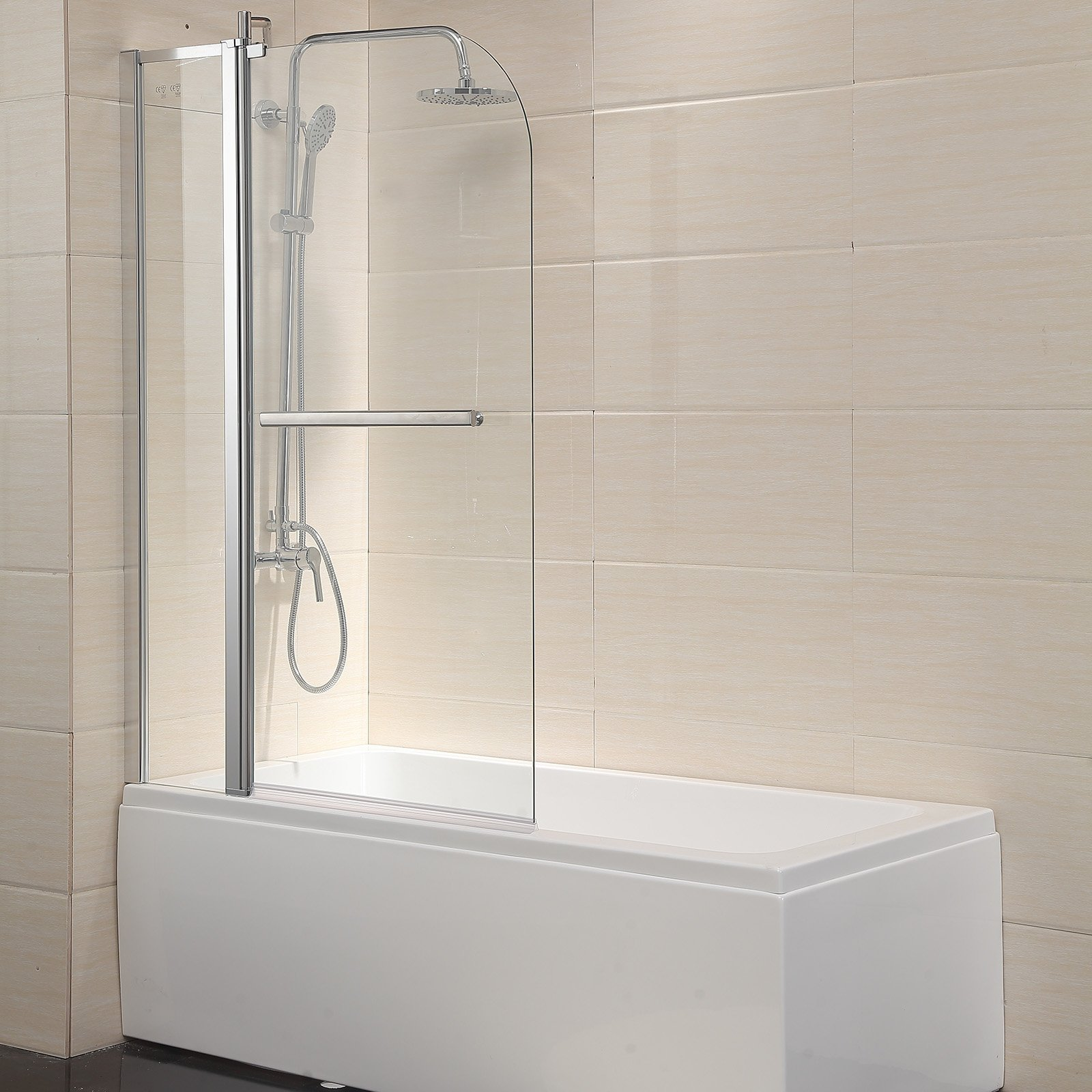 Mecor Shower Door Hinged Frameless 1/4'' Clear Glass Bathtub Door Chrome Finish (55''X39'')