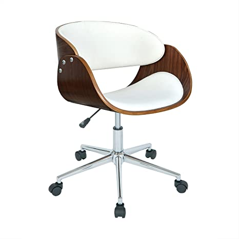 Excellent Porthos Home Monroe Mid Century Modern Chair With Curved Seat Back Leather Upholstery Adjustable Height Stainless Steel Legs And 5 Castor Roller Unemploymentrelief Wooden Chair Designs For Living Room Unemploymentrelieforg