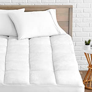 Bare Home Pillow-Top Queen Mattress Pad - Premium Goose Down Alternative - Overfilled Microplush Reversible Top - Super-Soft Hypoallergenic Mattress Topper (Queen)