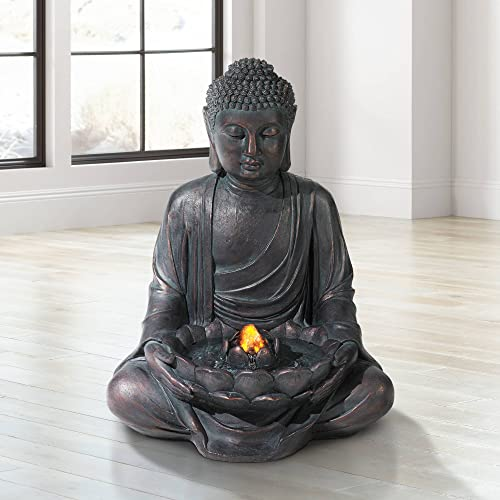 John Timberland Zen Buddha Outdoor Water Fountain LED Light Meditating for Yard Garden