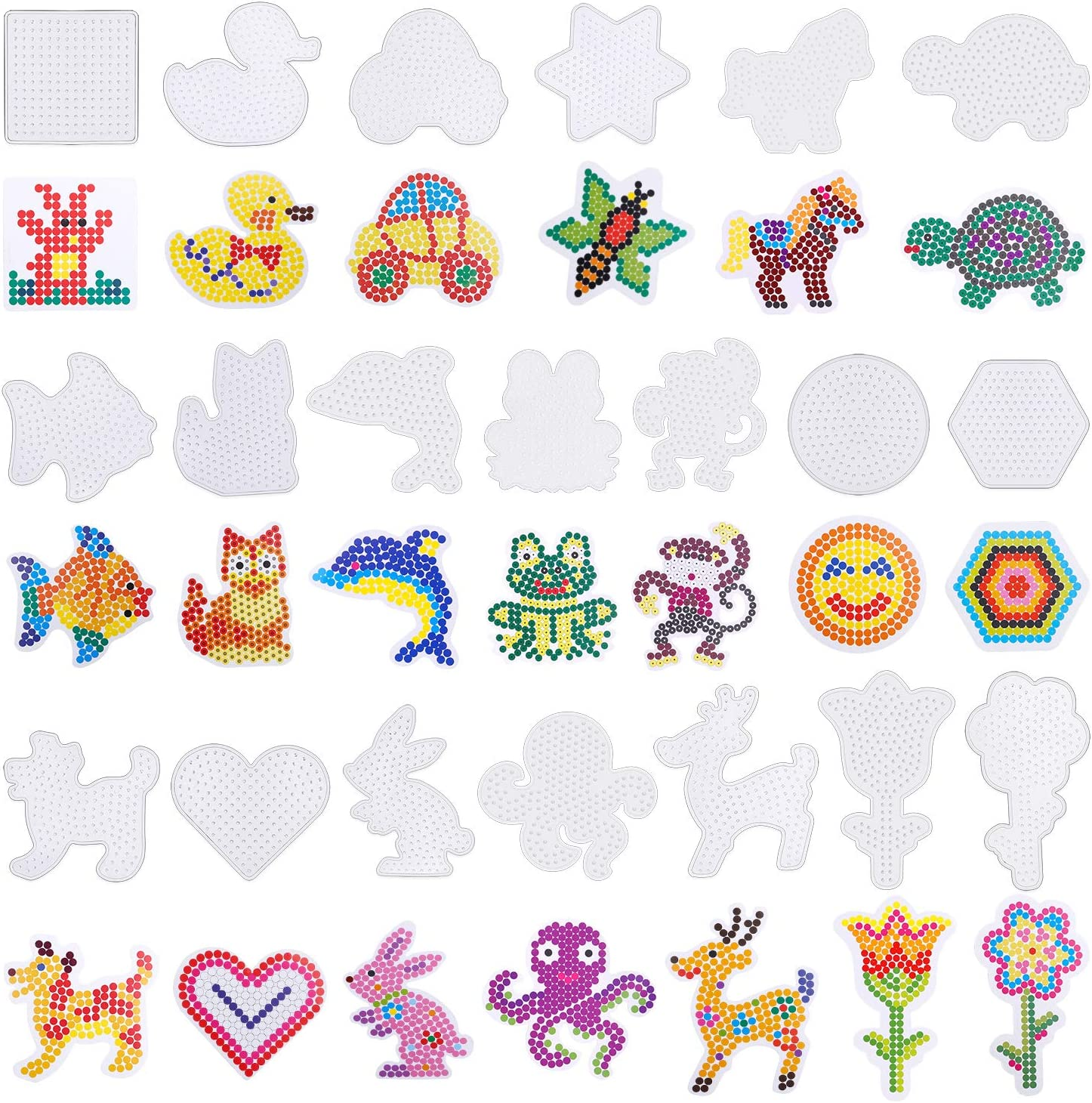 Coopay 20 Pieces Fuse Beads Pegboards Clear Plastic Template Beads Boards Different Shapes with 20 Pieces Colorful Cards for Kids Craft Supplies