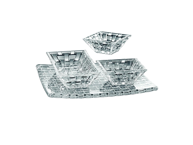 Nachtmann Bossa Nova Rectangular Plate and Square Bowl Set, Set of 3 Nachtmann Crystal 90026
