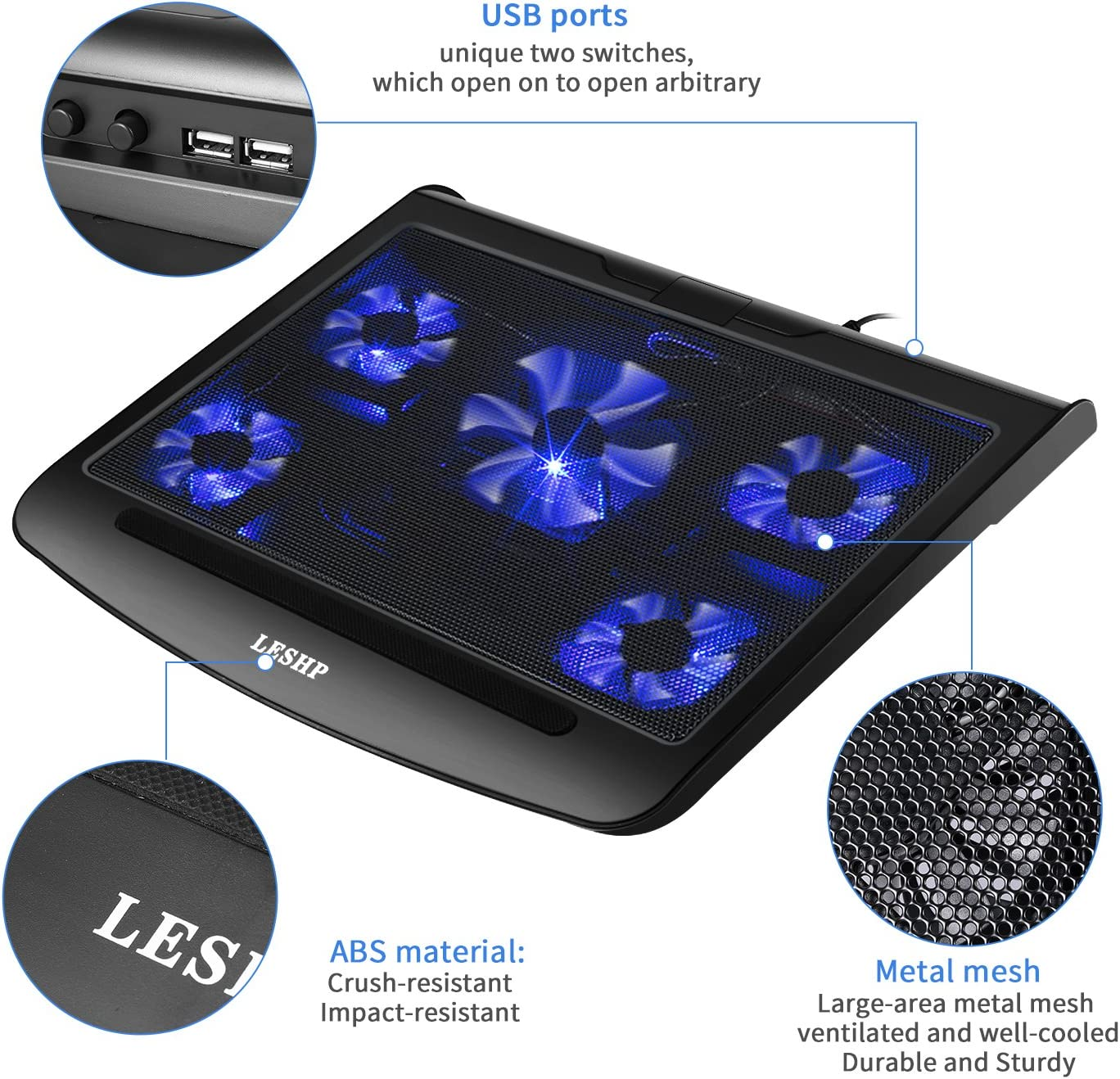 Laptop Gaming Cooling Pad,5 Silent Fan USB Interface Cooler Laptop Cooling Pads Notebook Cooling Pad Radiator T5 Lightweight Black Unique Two Switches Fits 15.4 /Inches
