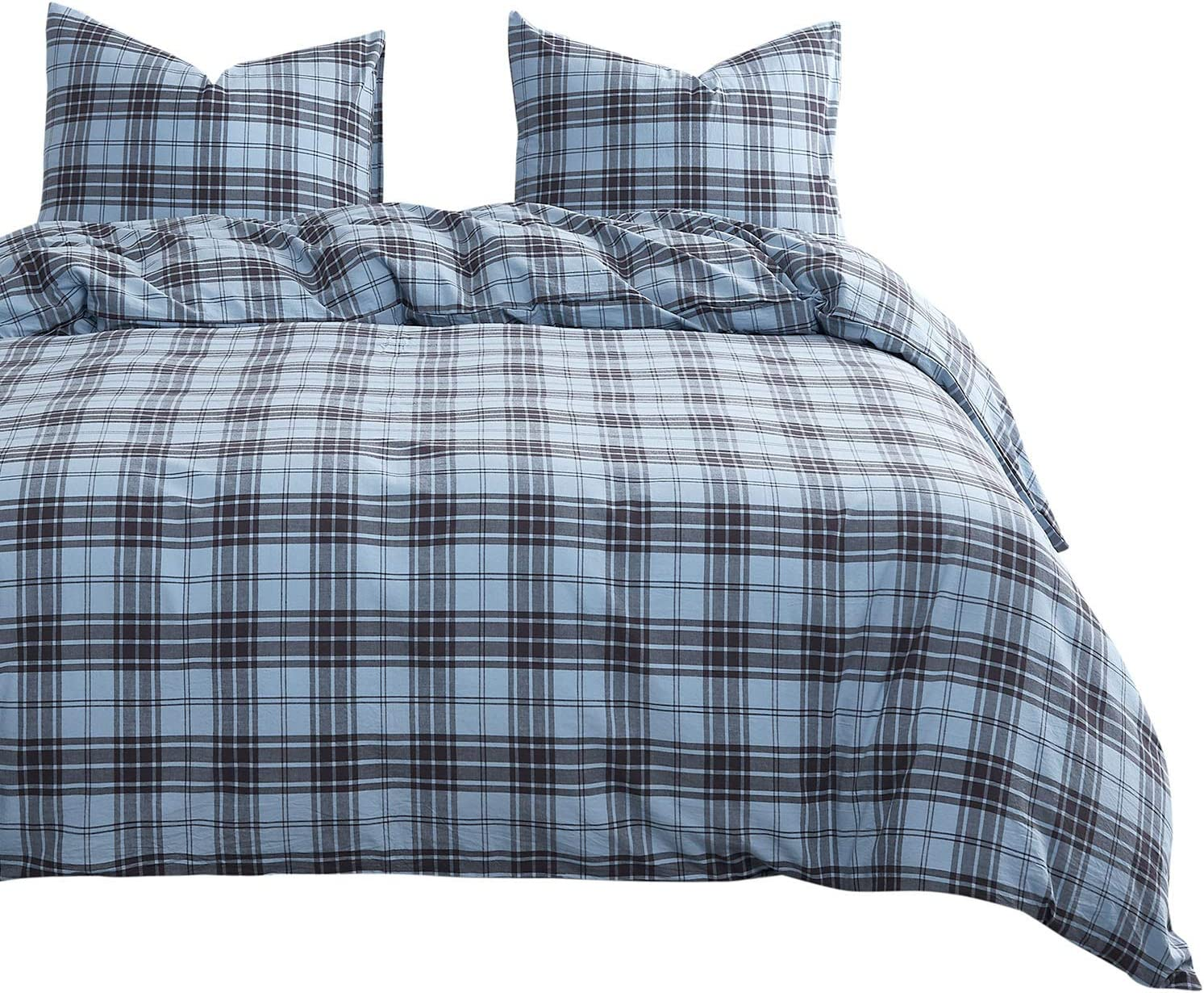 Wake In Cloud - Scottish Plaid Duvet Cover Set, 100% Washed Cotton Bedding, Tartan Check Geometric Pattern in Black and Blue, with Zipper Closure (3pcs, Queen Size)