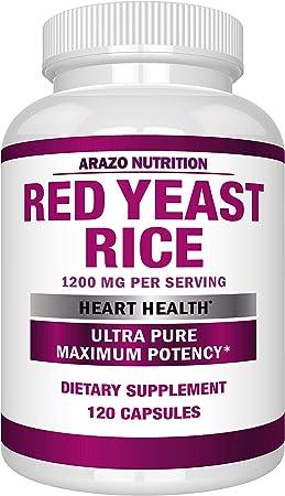 Red Yeast Rice Extract 1200mg – Citrinin Free Supplement – Vegetarian 120 Capsules - Arazo Nutrition