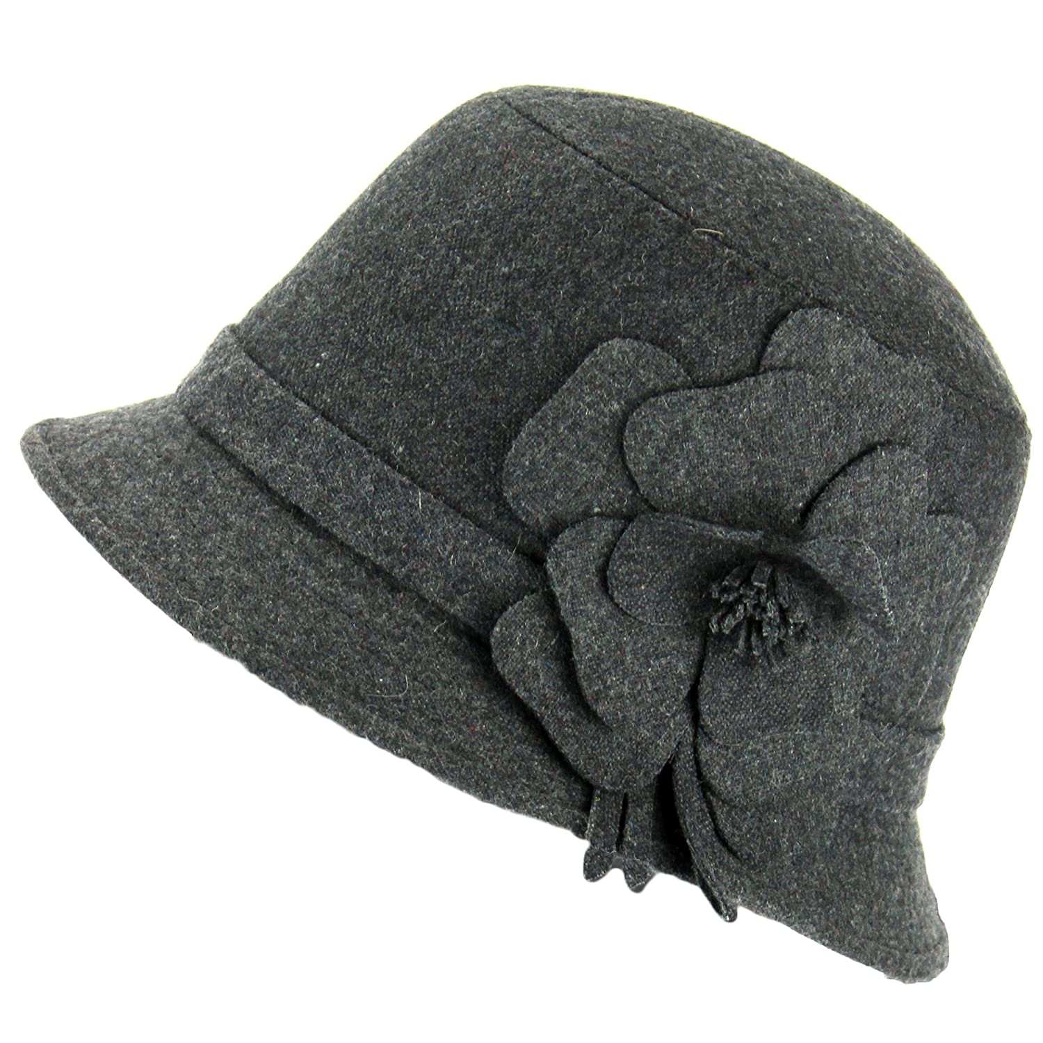 GREY CLOCHE HAT WITH FLOWER DECORATION WOOL BLEND 20s 30s Style