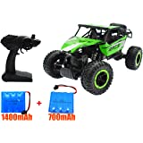 High Speed Off-Road RC Car 1/18 Scale 2.4GHz Radio Remote Control Truck 4WD Electric Race Cars Fast Rock Crawler Off Road Racing Toy Vehicle with 2 Ni-CD Battery(1400mAh+700mAh)(Green)