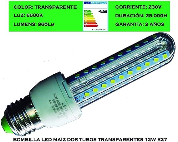 Tubombiled - Bombilla LED Maíz Dos Tubos Transparentes 12W E27 Luz Fría 6500K (El paquete