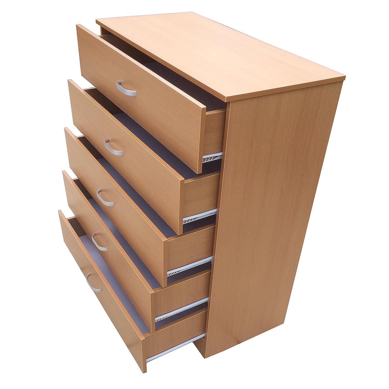 Rotstone Buche Kommode 5 Schubladen Einzigartiges Verbiegen