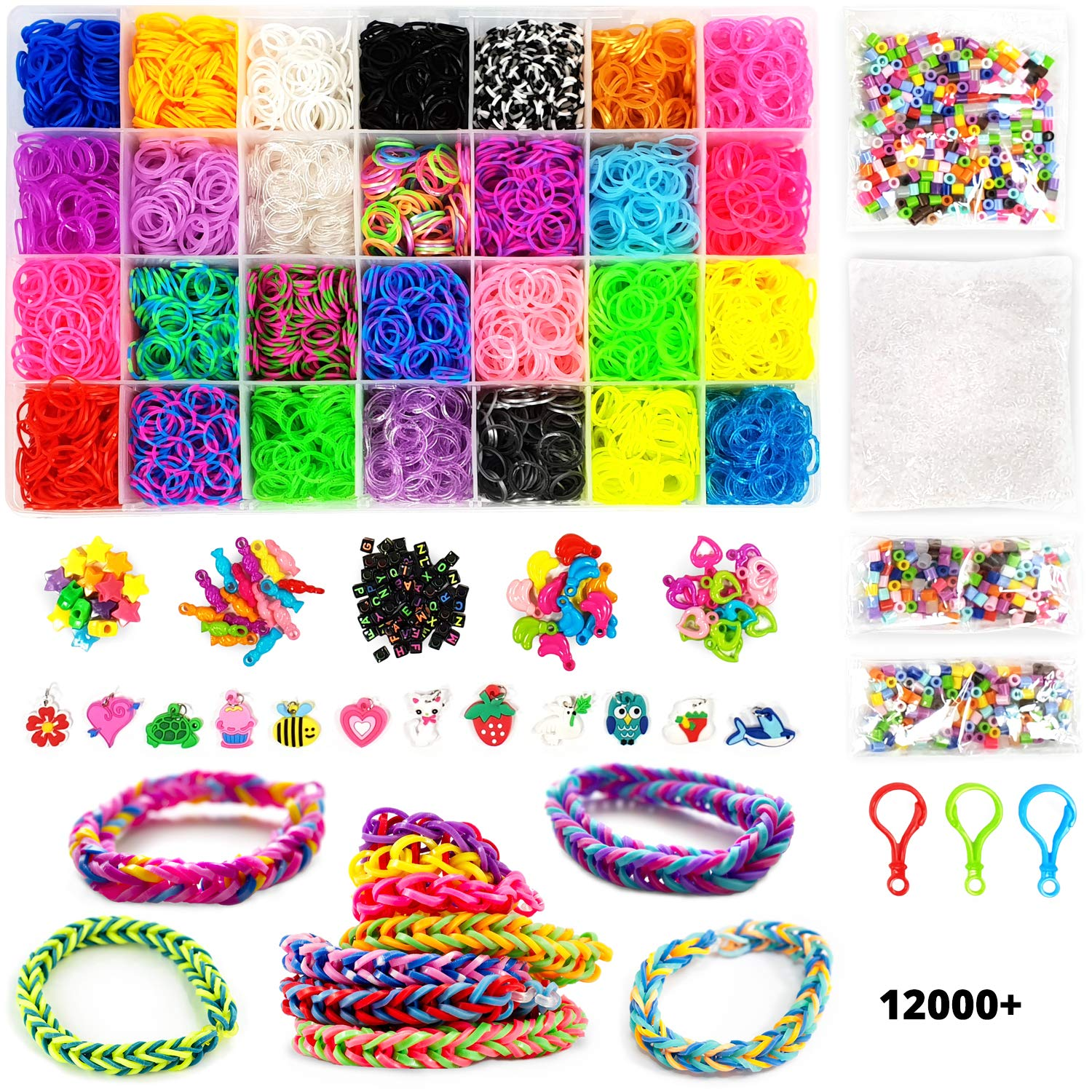 12000+ Rainbow Loom DIY Mega Loom Bands Refill Pack – Rubber Loom Bracelets Making Kit for Kids – Rubber Bands Jewelry Creator Refill Package – 42 Color Loom Bands Kit for Loom Bracelets Crafting Rainbow Tree Kids