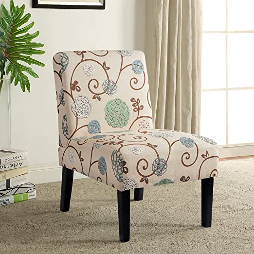 Harperbright Designs Fabric Accent Chair Living Room Armless Chair With Solid Wood Legs Beigefloral 1pc