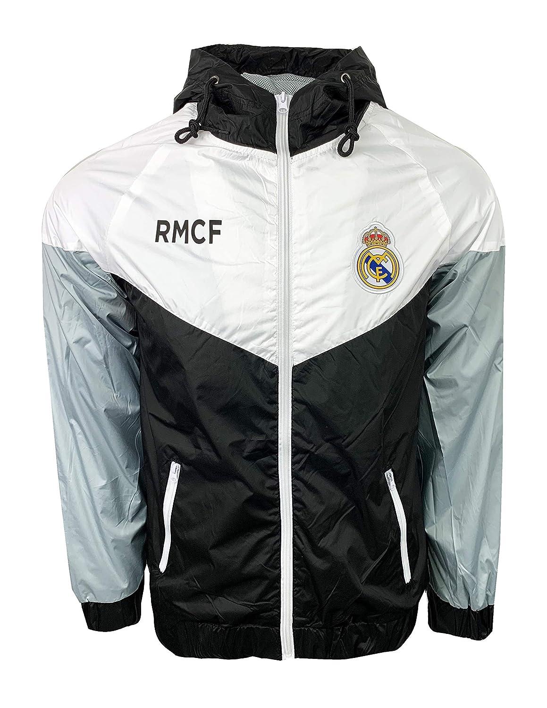 Real Madrid FC Windbreaker Jacket, Official Football Mens Shower Jacket