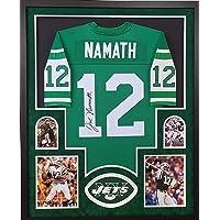 $425 » Joe Namath New York Jets Autograph Signed Custom Framed Jersey Mitchell & Ness Green Suede Mat JSA Certified