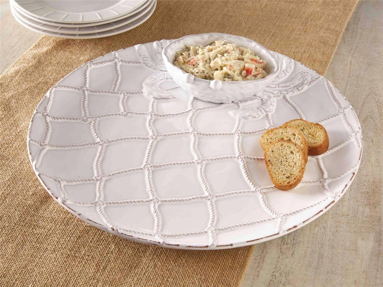 Coastal Christmas Tablescape Décor - Terracotta milk glaze classic crab chip & dip tray from the Mud Pie Crab Classic Collection