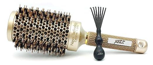 Round Hair Brush by pzaZ | Boar Bristles + Ceramic Ionic + Straighten, Curl, Add Volume + 2 inch + BONUS Brush Cleaner