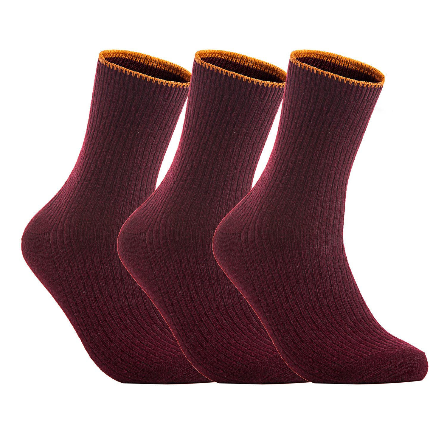 Lian LifeStyle Big Girl's 3 Pairs Wool Blend Crew Socks Solid HR1612 Size L/XL Wine