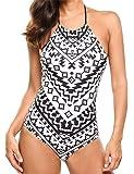 Ekouaer One Piece Swimsuit Halter High Neck Backless Womens Bathing Suit Tummy Control Swimwear Slimming