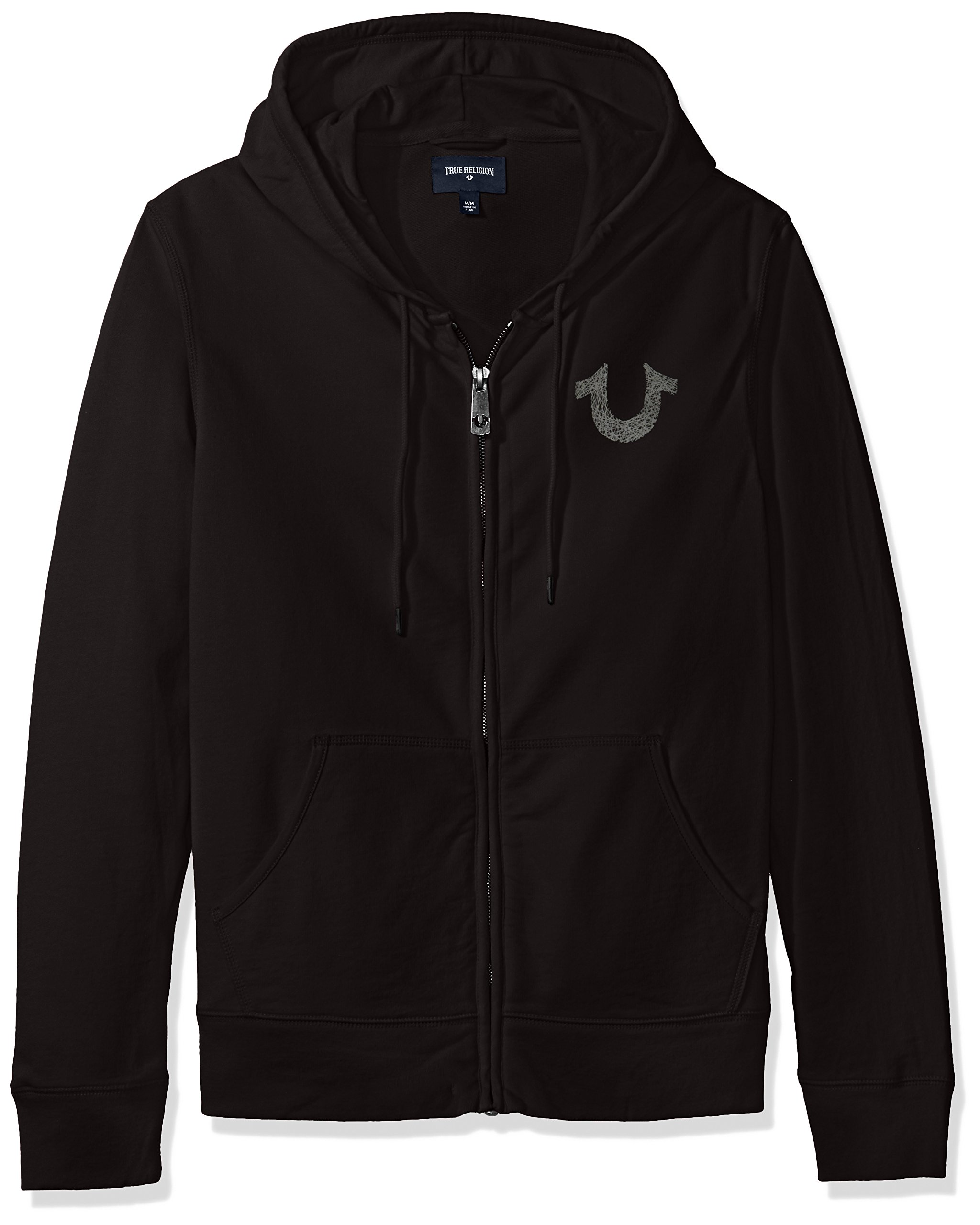 True Religion Men's Shoestring Horseshoe Hoodie, Jet Black, XL