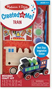 Melissa & Doug Decorate-Your-Own Wooden Train Craft Kit, Standard Packaging