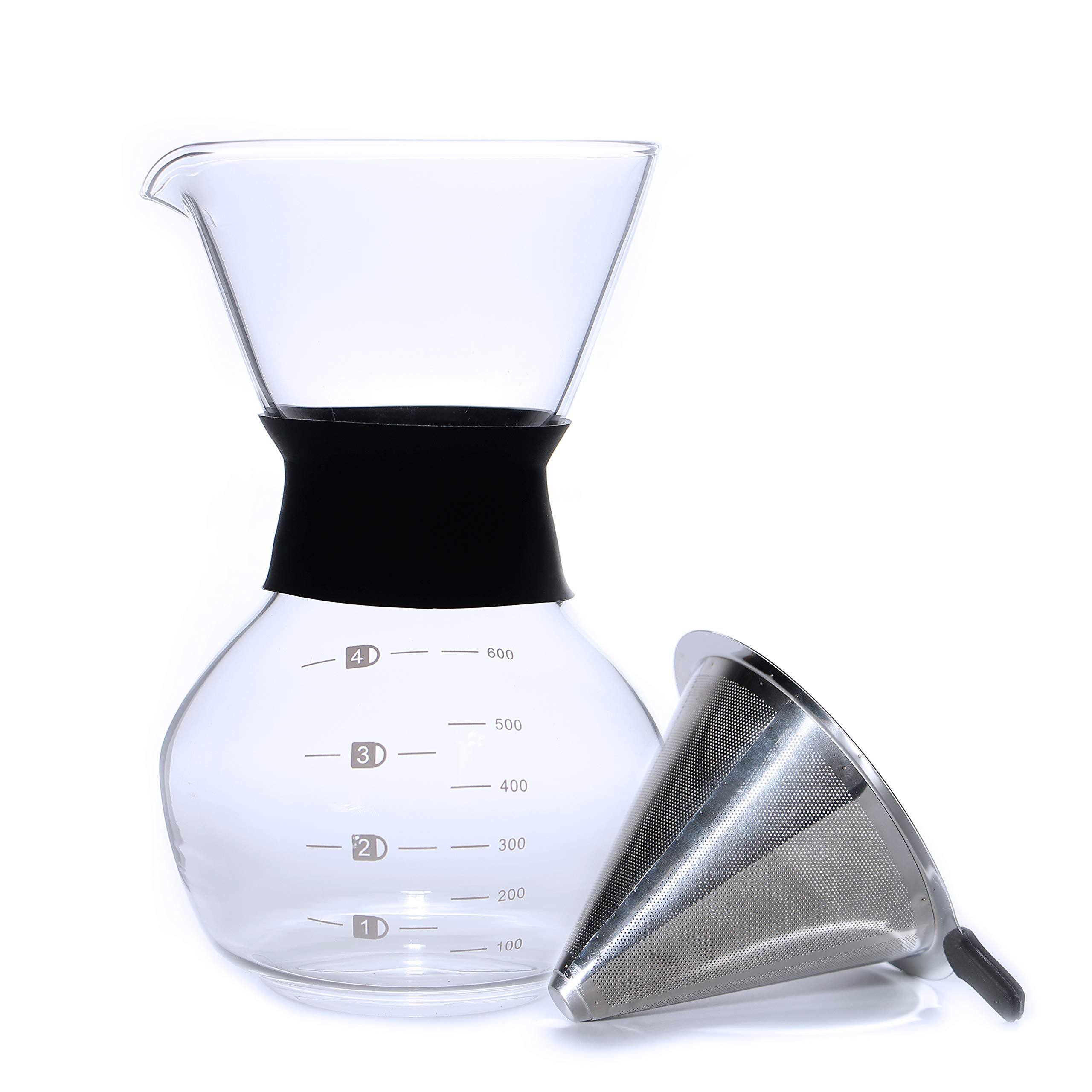 Pour Over Coffee Maker 20oz 600ml Borosilicate Glass Carafe, With Reusable Stainless Steel Filter/Dripper, Hand-Drip Coffee Maker, Easy to clean by Wells