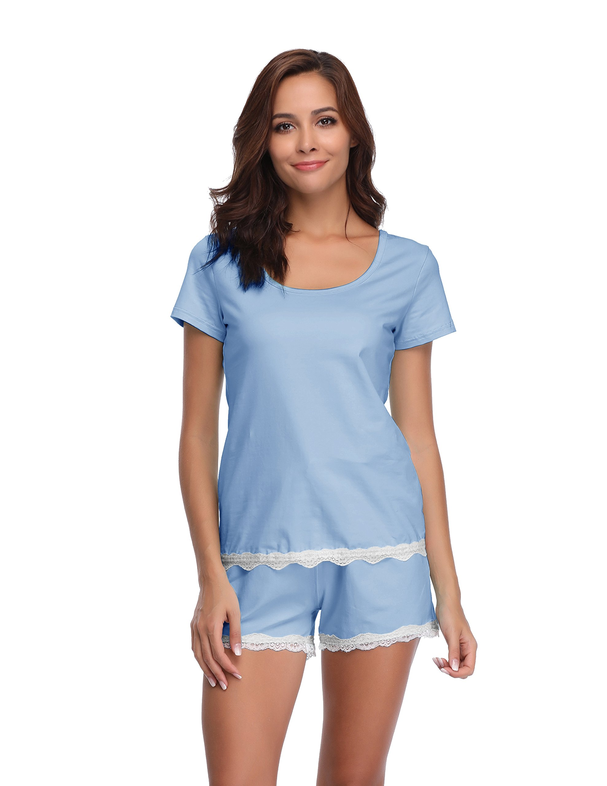 Luvrobes Women's Lace Trim 2-Piece Cotton Short Sleeve Pajama Set(L, Blue)