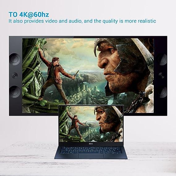 Cable USB C a HDMI, LEMEGO Adaptador USB Tipo C a HDMI Macho 4k 60Hz 1, 8m para Samsung Galaxy S9/S9 Plus/S8 Plus/S8/Note 8, HUAWEI Mate 10/Mate 10 ...