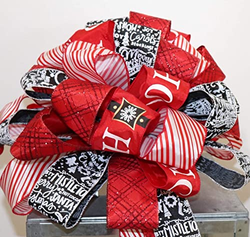 christmas tree topper bow black white red holiday tree decorations wired ribbon wreath embellishment xl bow ho ho ho ribbon new car
