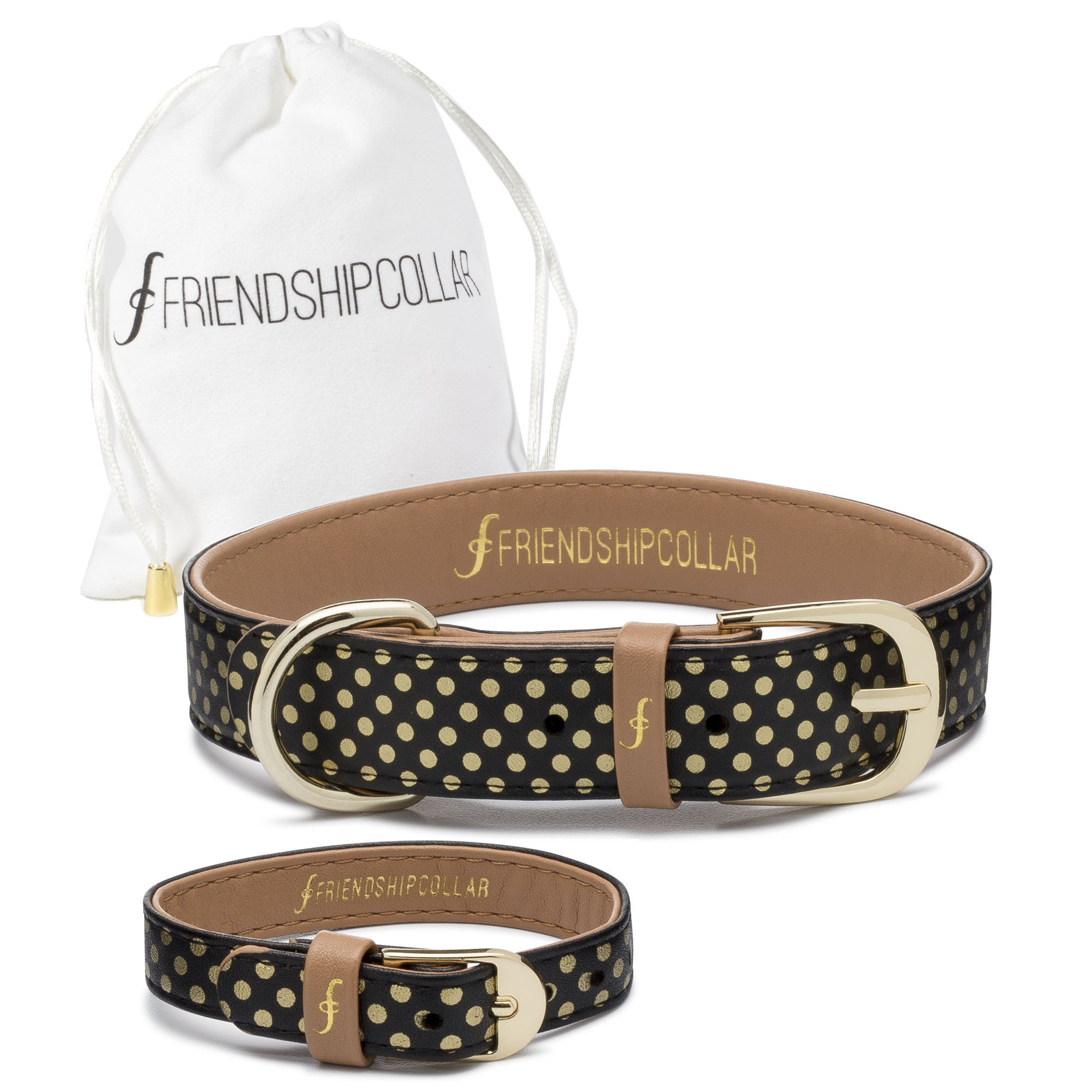 FriendshipCollar Dog Collar and Friendship Bracelet - Dotty About You - Large