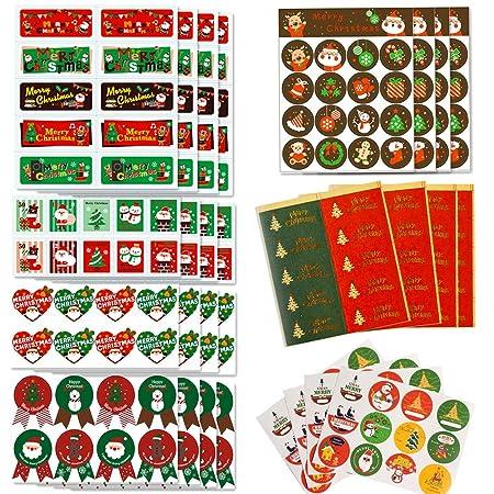 Gudotra 296 pcs Pegatina Navidad Etiqueta Adhesiva Decoracion para Bolsa Papel Regalo Recuerdo Boda Cumpleaños Navidad