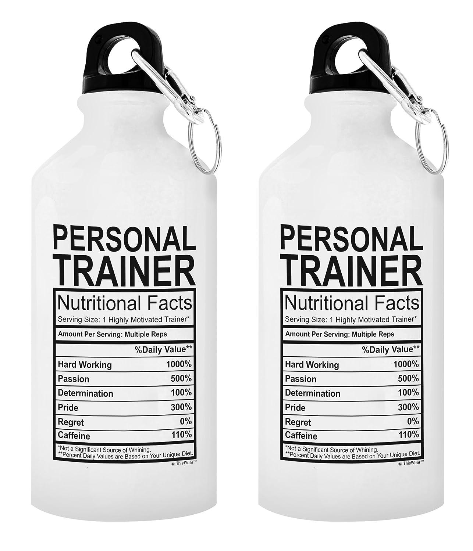 パーソナルトレーナー卒業ギフトパーソナルトレーナー栄養成分ギフトアルミニウムウォーターボトルキャップ&スポーツトップ B077DP6WGS 20 oz White|2 20 oz White