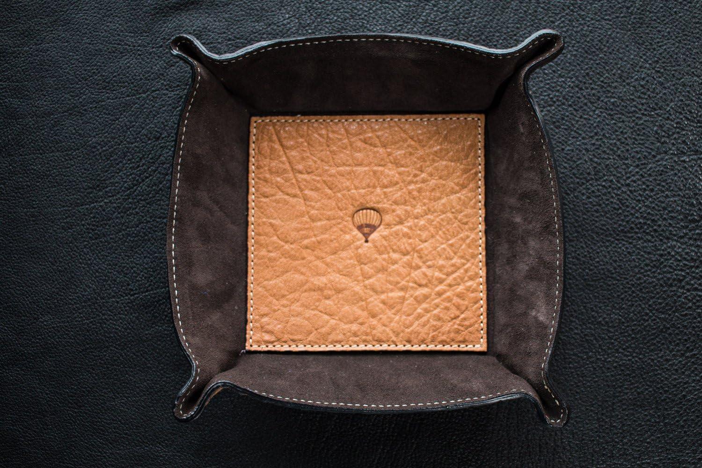 certifi/ée beige Vide-poche carr/é en cuir de buffle et chamois 23/cm Fabrication /à la main en Toscane