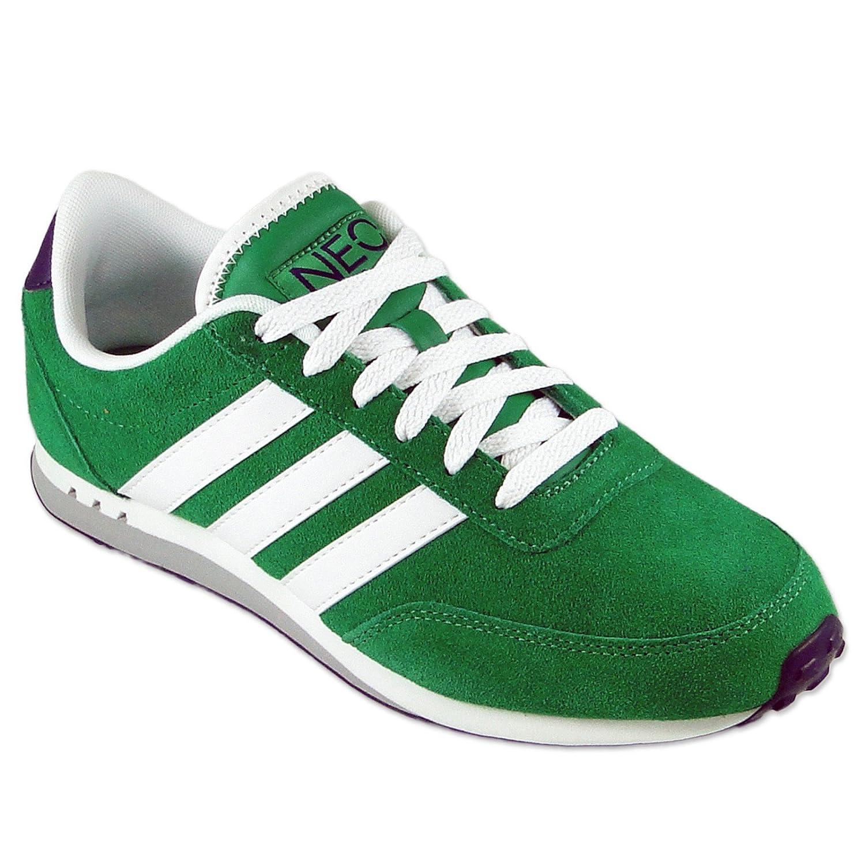 0cda5f50976bd5 adidas V Racer LEA NEO Sneaker Schuh GRÜN WEIß Q38930 Wildleder Turnschuhe