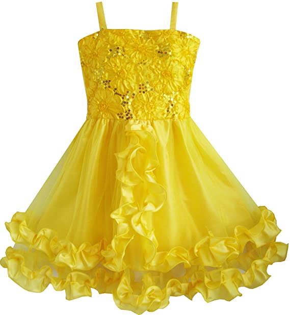 Sunboree Mädchen Kleid Gelb Shinning Pailletten Hochzeit Festzug ...