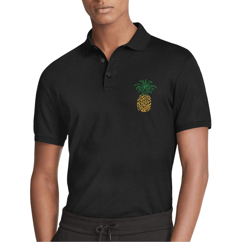 HIUHADA Mans Pineapple Soft Cotton Workout Short Sleeve Polo Tee