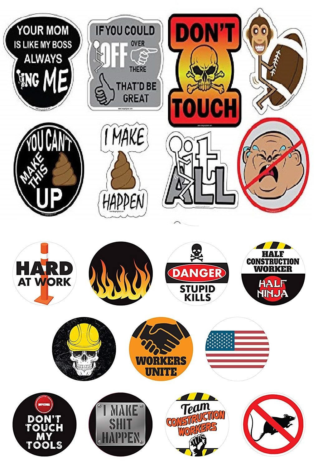 Best of the year 1 set funny hard hat helmet stickers 19 decal value pack extreme edition funny decals for construction electrician union osha