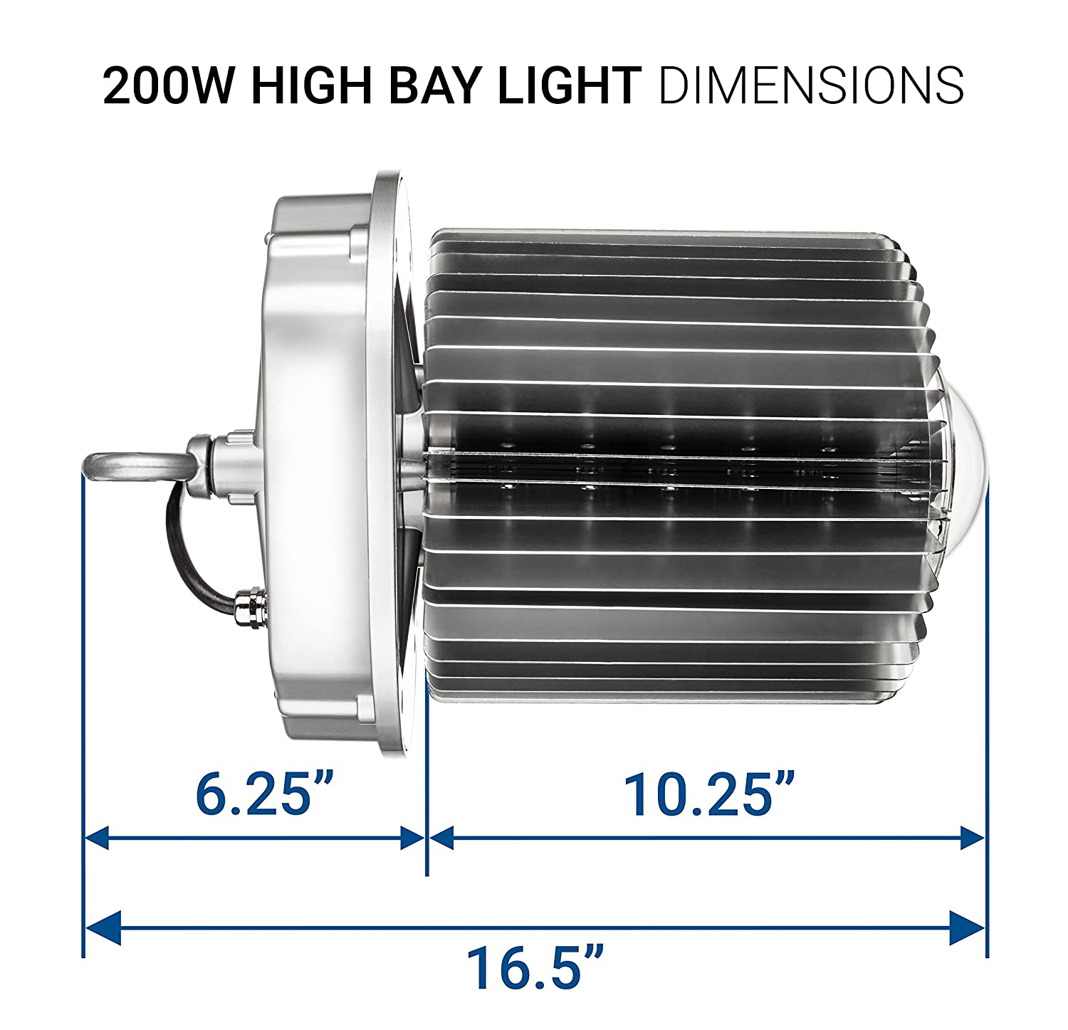 18,000 lumens Indoor Area Lighting DLC 4.2 Qualified /& UL Certified HyperBay200W-50 Crystal White Glow 5000K 800W HID//HPS equivalent 200W Free Reflector Upon Request Inc Hyperikon LED High Bay Light
