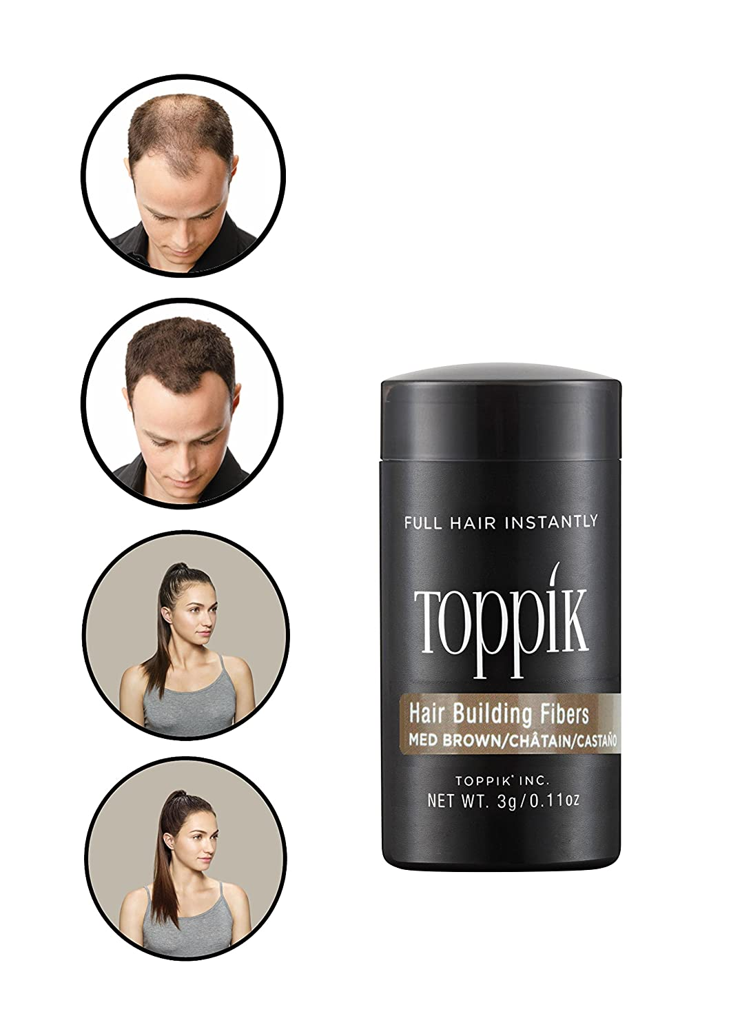 Toppik Hair Building Fibres for Instantly Fuller Hair, Medium Brown, Travel Size, 3-g TOWIR TTM12A
