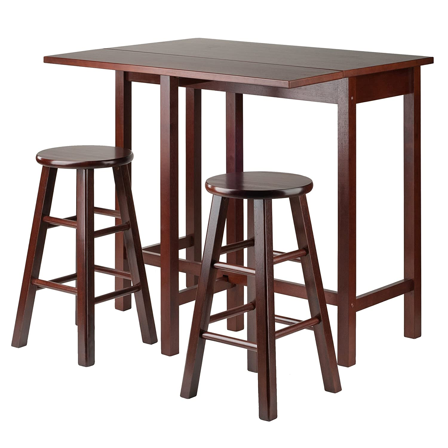 Winsome Wood Lynnwood Drop Leaf Island Table with 2 Square Legs Stool Walnut, 3-Piece Winsome Trading Inc. 94394