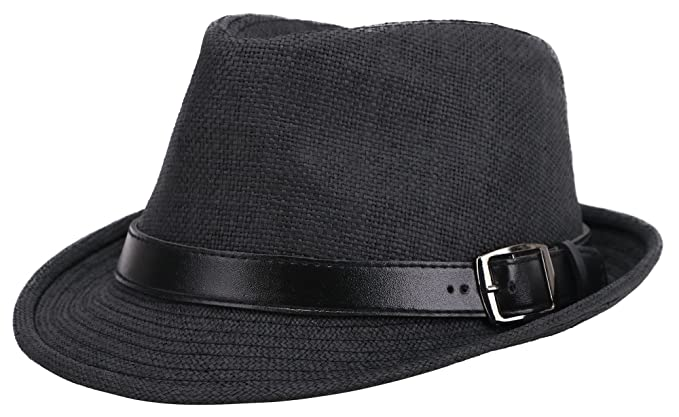 Men Women s UV Sun Protective Straw Fedora Hat w Leather Buckle Band ... 67f745d58930