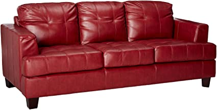 Samuel Leather Sofa Red