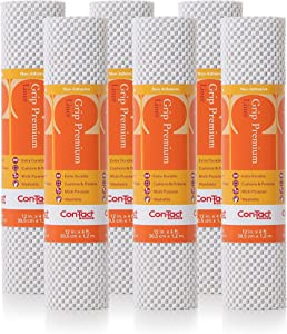 "Con-Tact Brand Grip Premium, 04F-C6L52-06EC, Non-Adhesive Non-Slip Shelf Liner and Drawer Liner, Bright White, 12"" x 4', 6 Rolls"