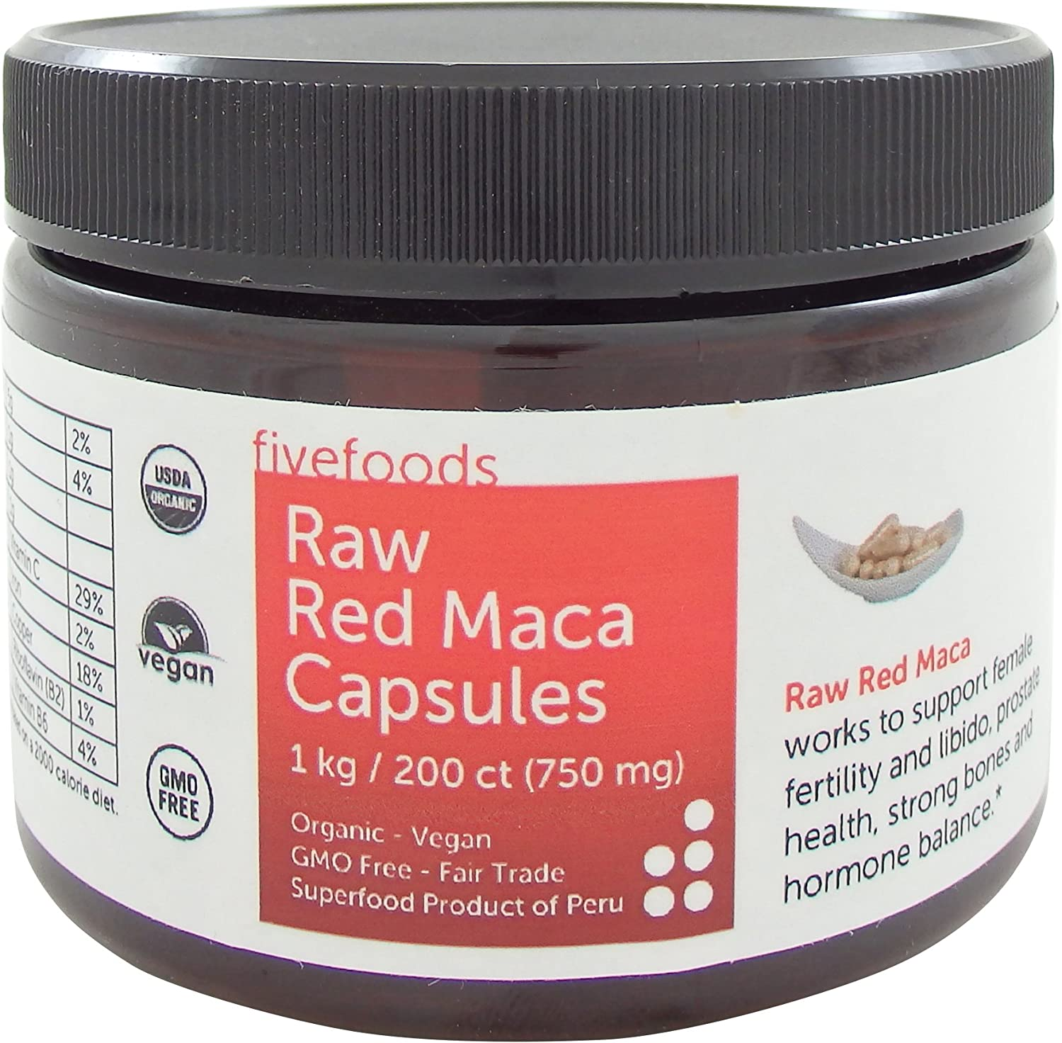 Red Maca Capsules – Raw, Organic, Fair Trade, GMO Free, Grown Traditionally in Peru – 200 Vegan Capsules, 750mg Each - Great Value!