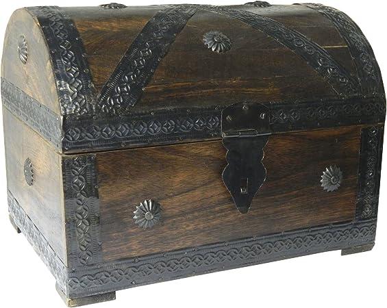 Cofre del tesoro caja de madera cofre pirata aspecto antiguo almacenamiento 28x21x21cm: Amazon.es: Hogar