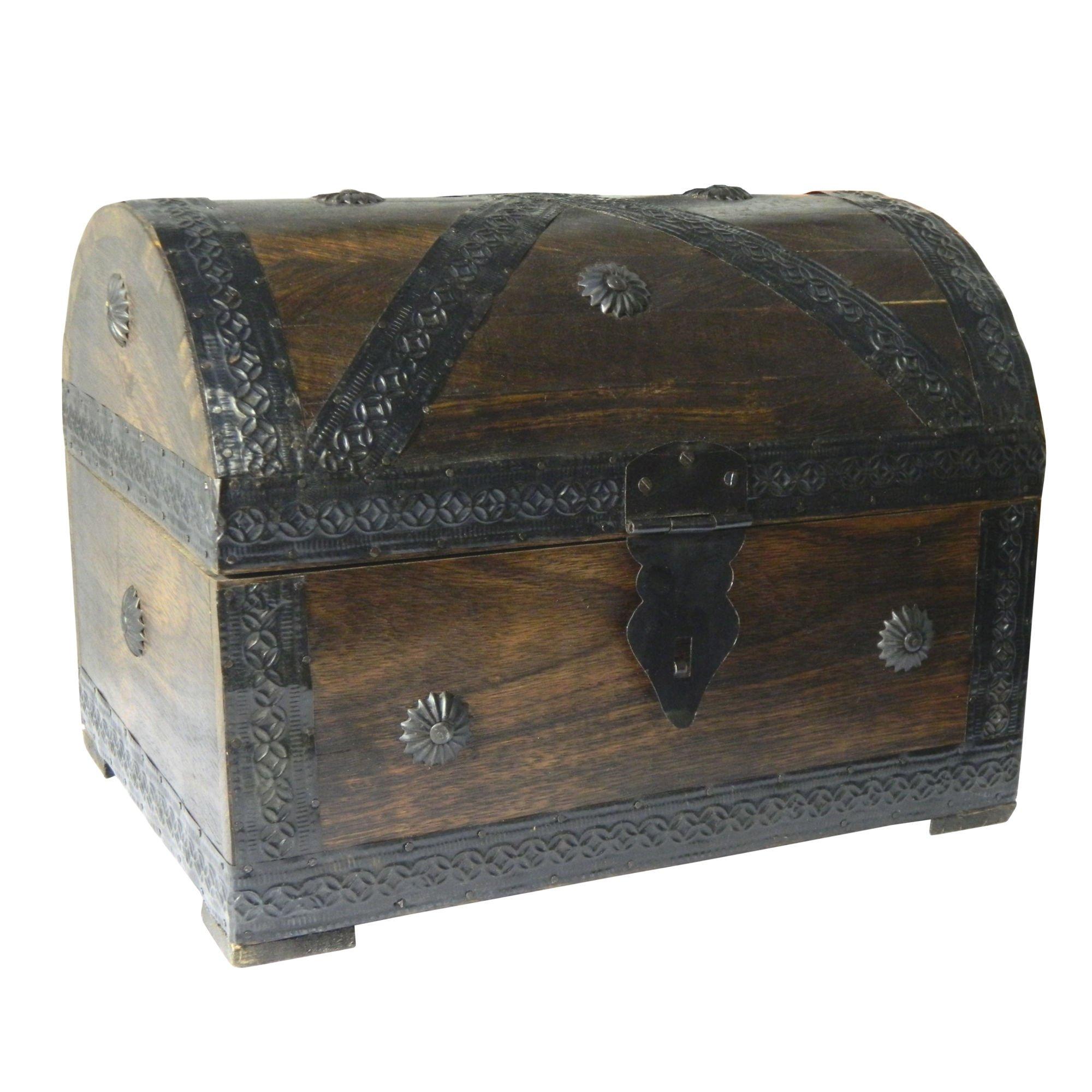 Cofre del tesoro caja de madera cofre pirata aspecto antiguo almacenamiento 28x21x21cm product image