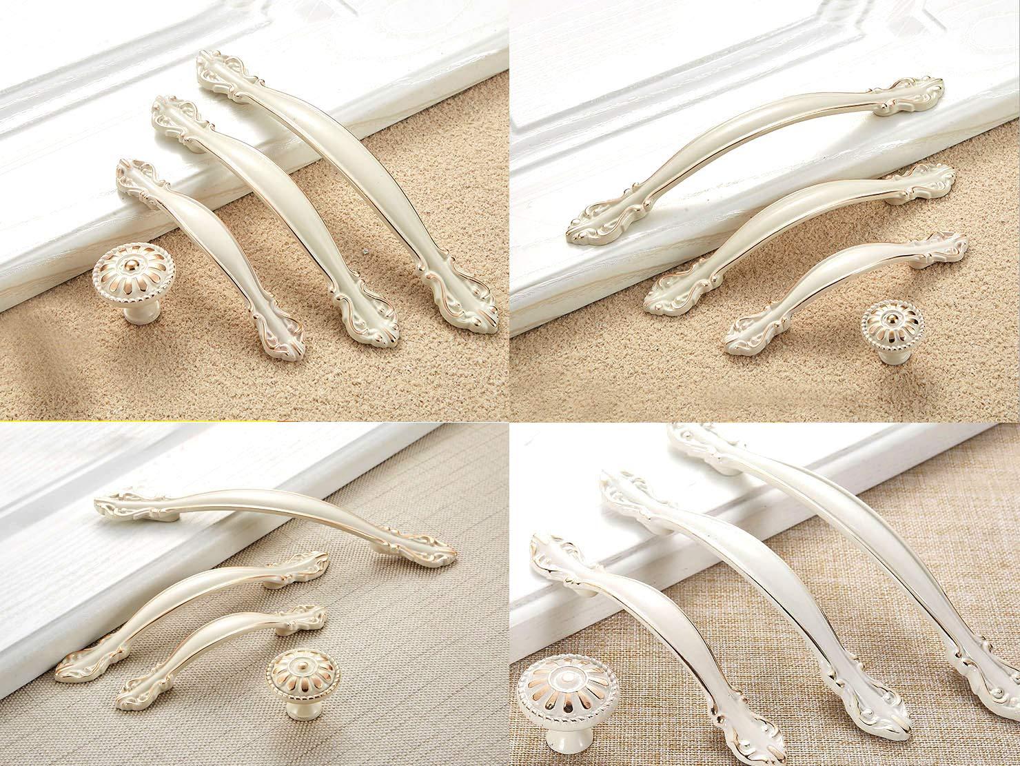 10-Pack Zinc Alloy Ivory White with Gold Edge abcGoodefg Europe Cabinet Handle 4.5 Length 2.5 Hole Centers