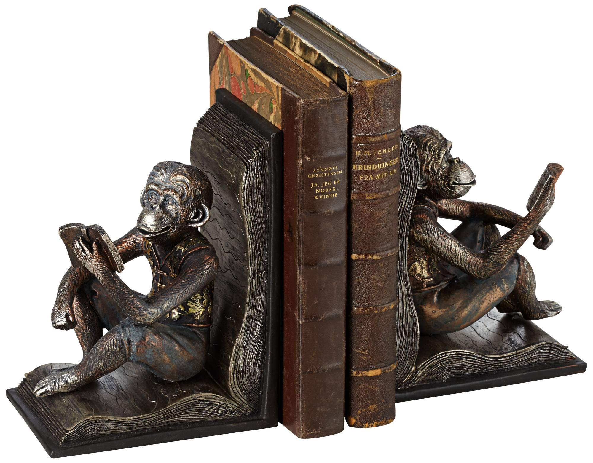 Kensington Hill Studious Reading Monkeys 7 1/2'' High Bookends Set