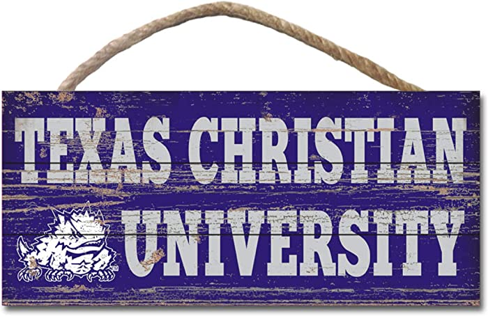 NCAA Legacy Tcu Horned Frogs Wood Plank Hanging Sign 10x5, One Size, Wood