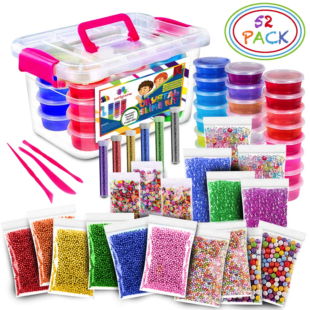 Ultimate Slime Kit - 24 Color Crystal Clear Fluffy DIY Starter Slime Supplies for Girls and Boys With Loads of Crunchy Accessories
